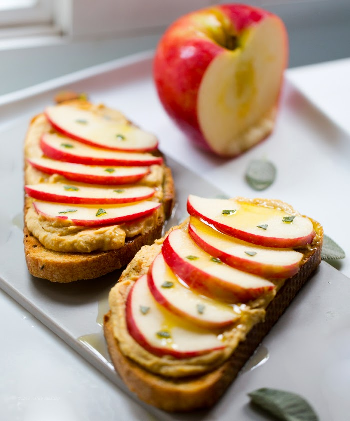 Hummus-Apple Tartine: Easy Fall Snack. (plus It's Moving