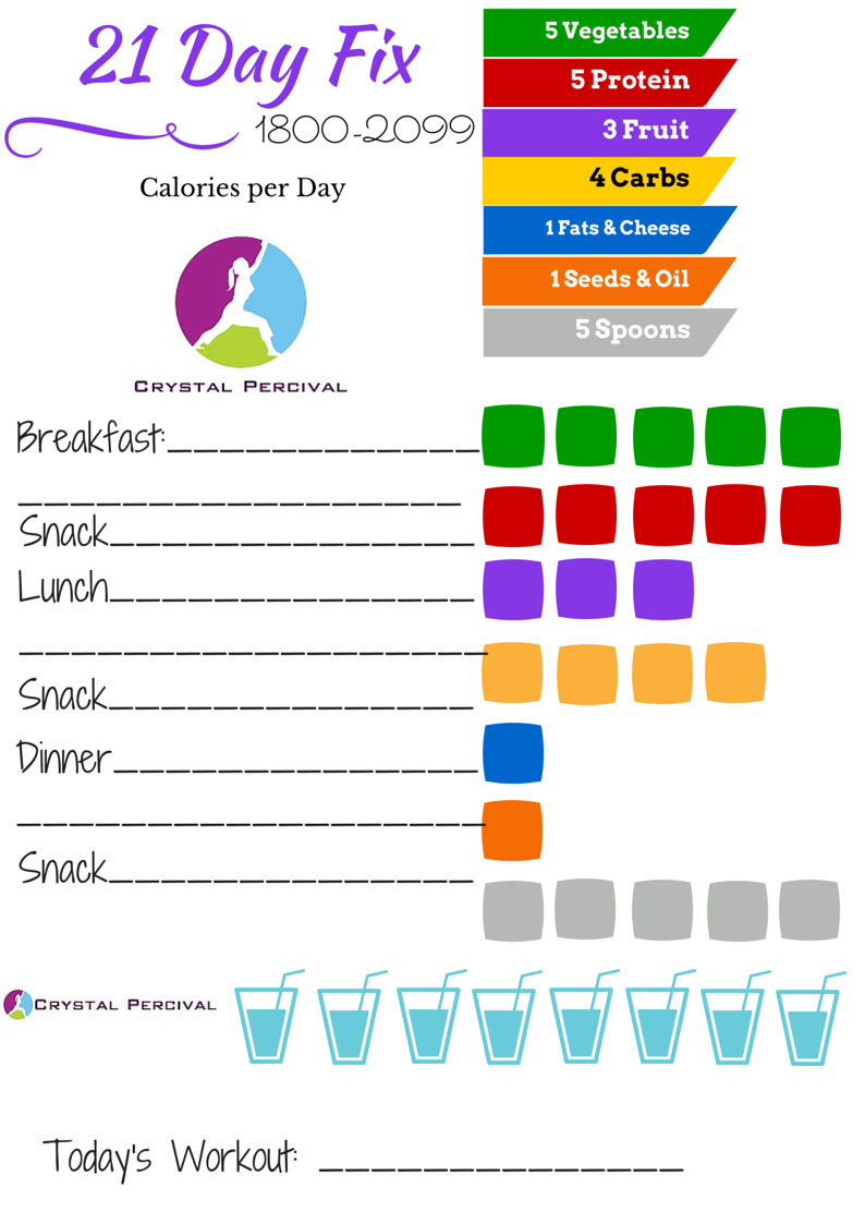 It is a graphic of 21 Day Fix Workout Schedule Printable intended for meal plan