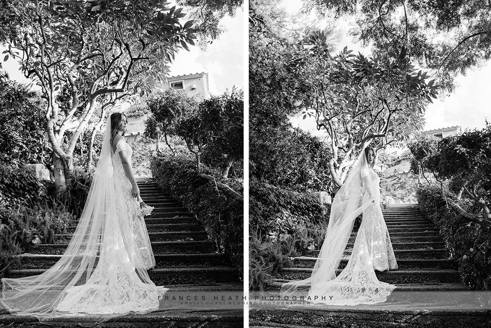 Bride portait on stairs in San Pietro garden