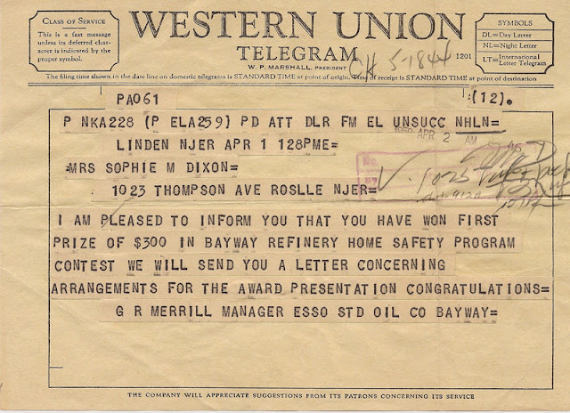 Western Union Telegram to Sophie Dixon informing her that she won the 1959 Esso Bayway safety contest. E. Ackemann, 2017.