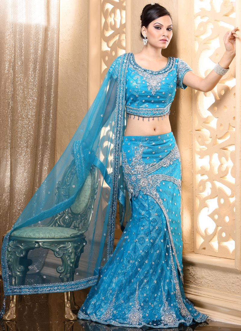 Selection of Blue Color Lehenga Saree for Girls 2015-16   Breaking ...