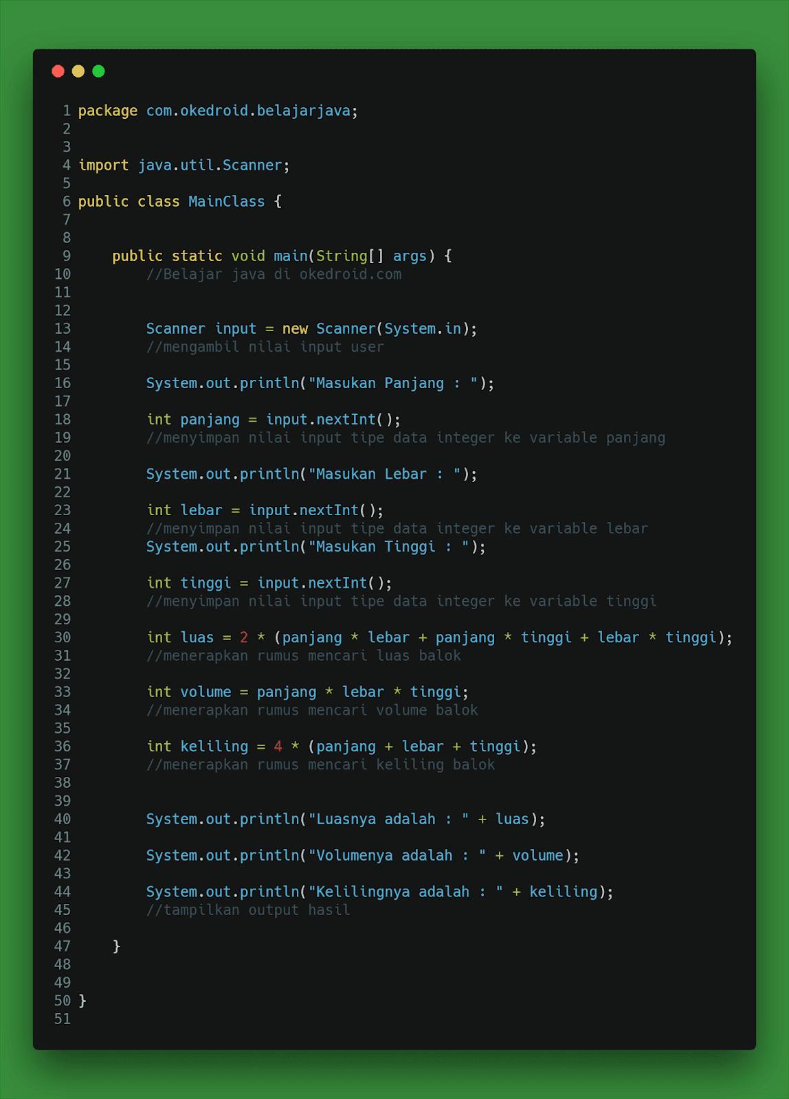 Contoh Code Program Menghitung Luas ,Volume dan Keliling Balok di Java