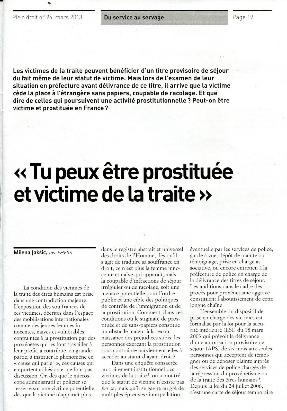 statut des prostituées