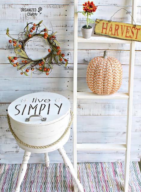 Upcycled Yard Sale Firkin Sewing Basket #upcycle #firkin #stencil #yardsalefind