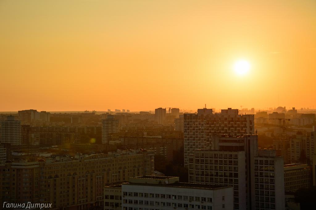 Рассвет над Минском с высоты фото