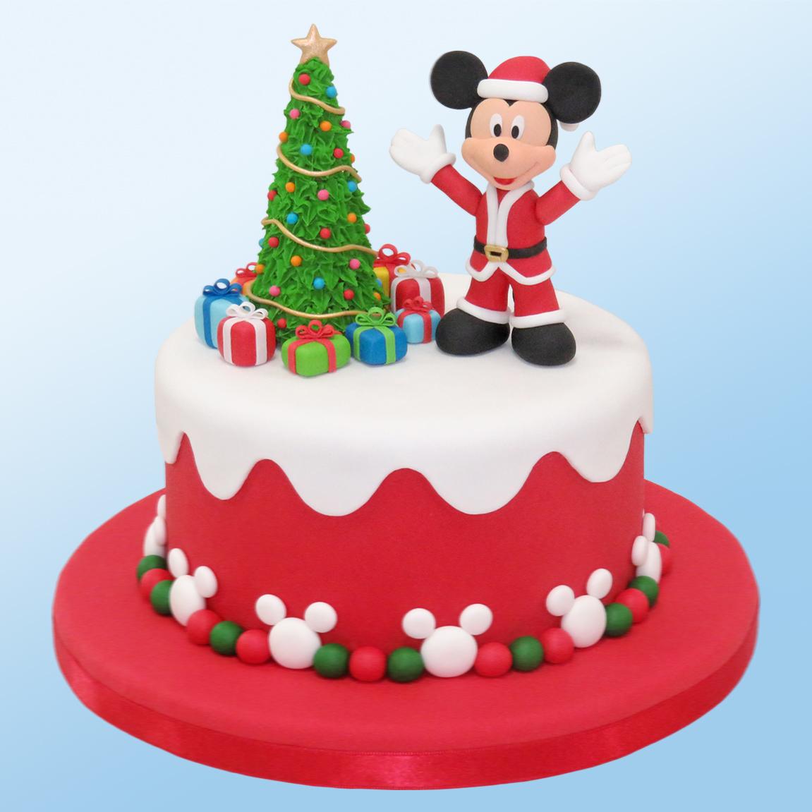 Kaomi Tutoriales Cómo Hacer A Mickey Para Decorar Una Torta De Navidad Mickey Mouse Christmas Cake Decorating