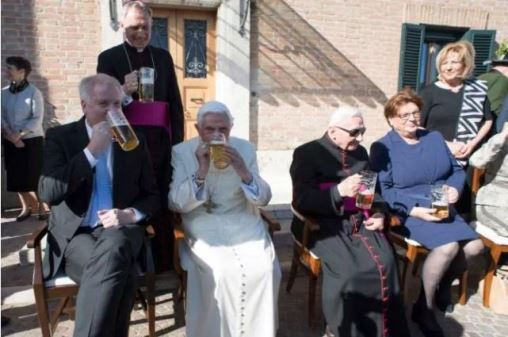 Former Pope Benedict XVI celebrates 90th birthday with a glass of beer (Photos)