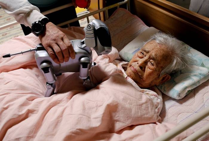 A bedridden woman examines an AIBO robot dog. Takahagi, Japan, March 27. Posted by: Kim Kyung Hung
