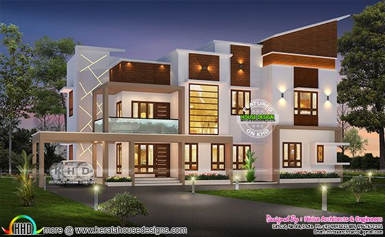 6 bedroom modern house rendering in 2500 square feet