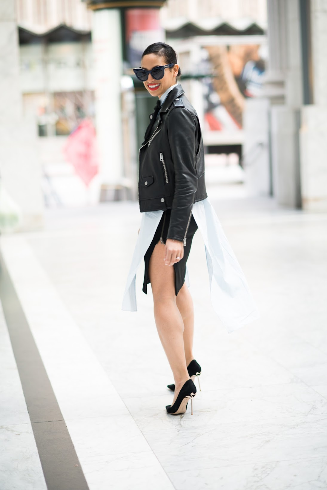 detachable bowtie, Asos, Zara, Sophia Webster Coco pumps, Flamingo pumps, Karen Walker Starburt sunglasses navy, feminine masculine style, Coach moto jacket, streetstyle, ootd