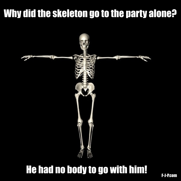 Why did the skeleton go to the party alone?  He had no body to go with him!