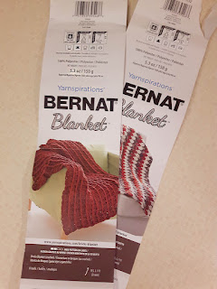 The label from the Bernat Blanket yarn.