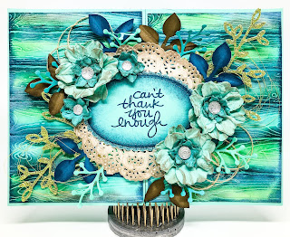 Linda Vich Creates: Bittersweet Thank You. Distressed wood background is topped with greenery and flowers using Petals & More, Sweet Cake Framelits, and punches.