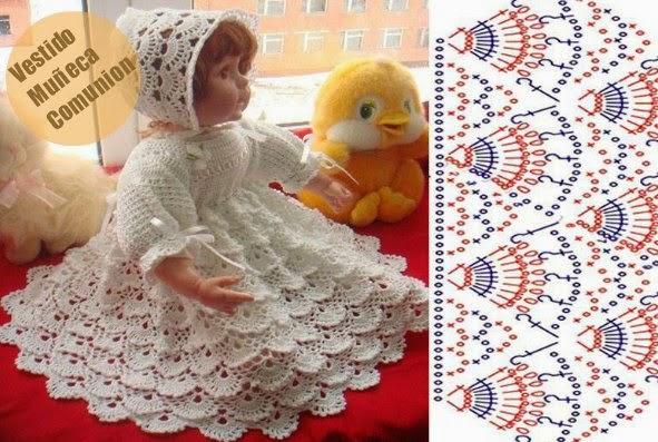 Vestido Comunion Doll Patron Crochet
