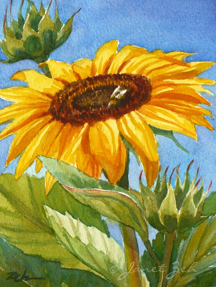 Sunflower and Honey Bee watercolor print