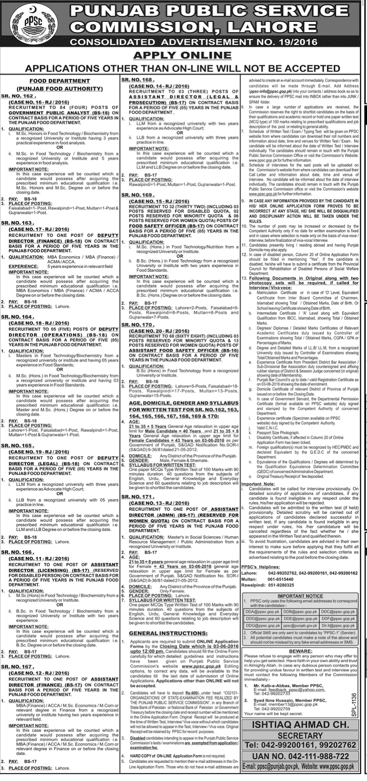 Government Jobs in Punjab public service commission Jobs 2016