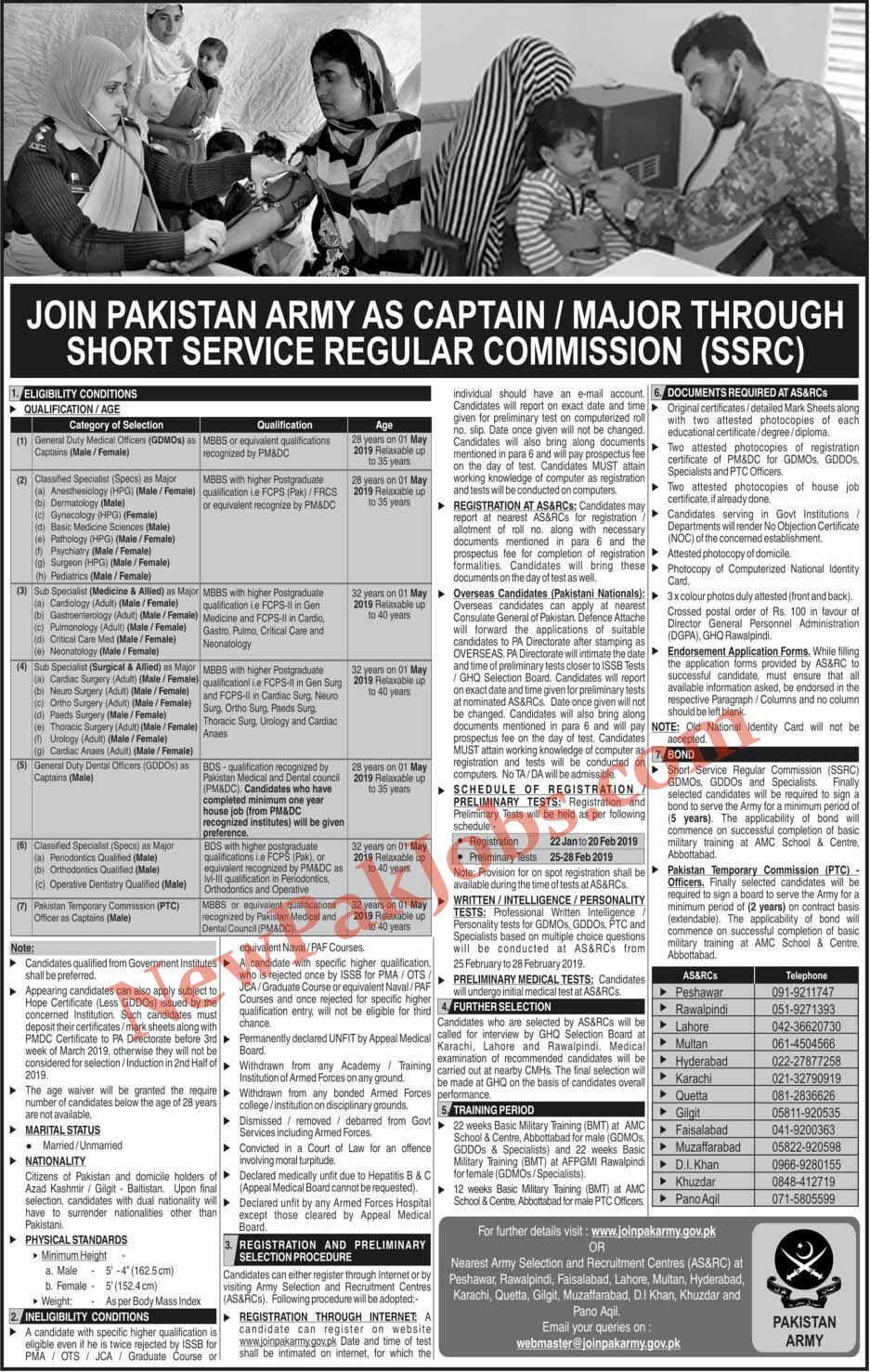 Join Pakistan Army as Captain, Major Through Short Service Course SSRC Sunday 20 Jan 2019