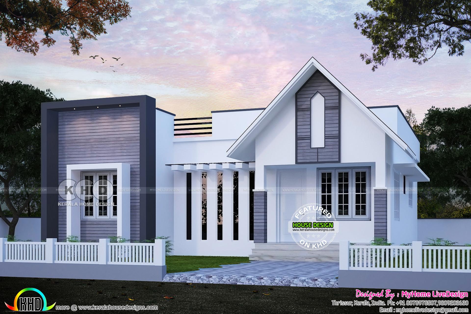 Small Mixed Roof 2 Bedroom Single Floor House Kerala Home Design Bloglovin
