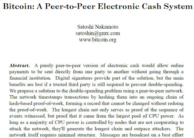 Dokumen Satoshi Whitepaper yang menjelaskan sistem Bitcoin