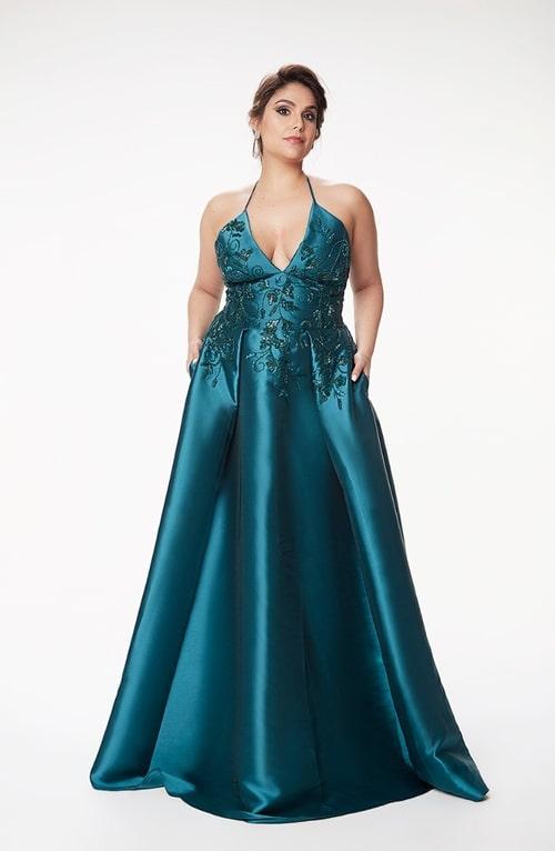 vestido longo verde esmeralda