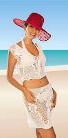 вязаный пляжный костюм крючком: юбка и топ
