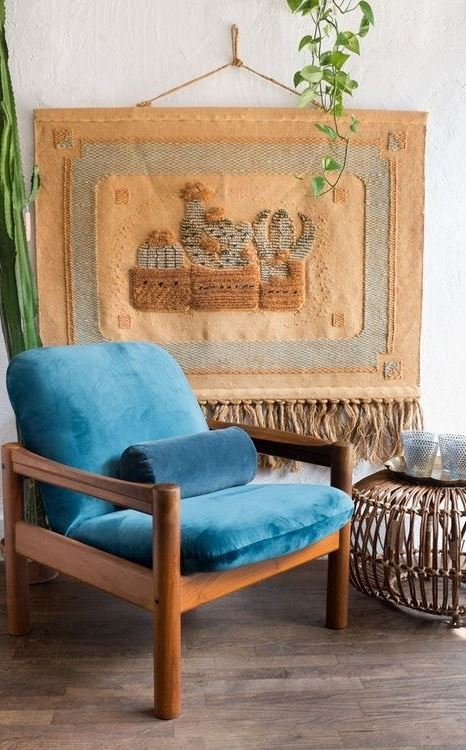 Teal Blue Velvet Arm Chair