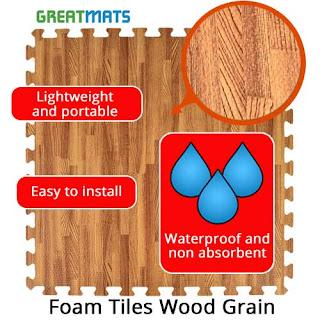 Greatmats Wood Grain Foam Tiles infographic