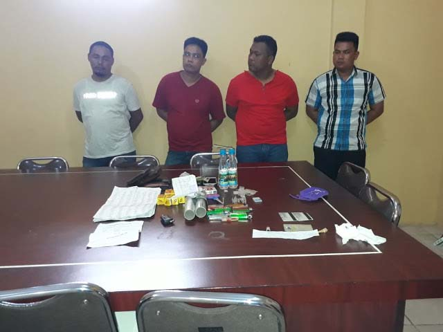 Ketuga oknum polisi dan warga sipil yang ditangkap di Labuhanbatu.