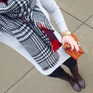 Zella leggings, gray sweater, ILY Couture plaid scarf, Rebecca Minkoff handbag, knee high boots