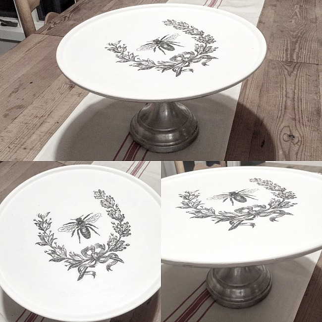 Repurposed Pizza Pedestal Dish with an easy DIY Graphics Fairy Transfer