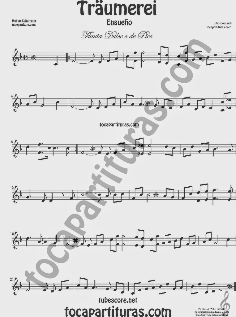 Traumerei Partitura de Flauta dulce y de pico FÁCIL  Sheet Music for EASY Recorder Music Scores for beginners de Robert Schumann
