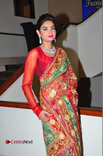 Model Sharon Fernandes Stills in Red Saree at Trendz Exhibition Launch  0049.JPG