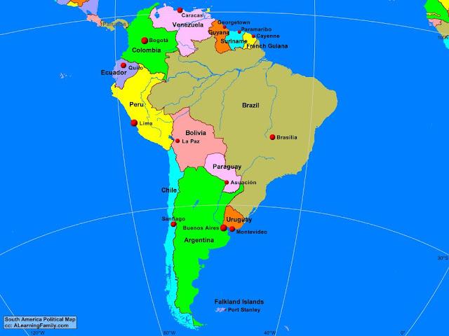 Nama Negara di Benua Amerika Selatan dan Ibukotanya