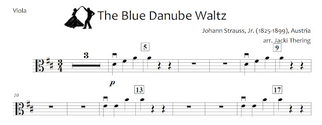 Blue Danube sheet music arrangement beginning orchestra