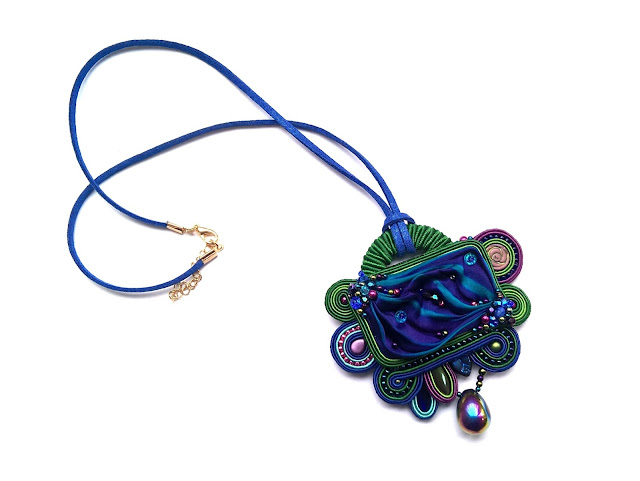 Shibori soutache pendant blue green violet