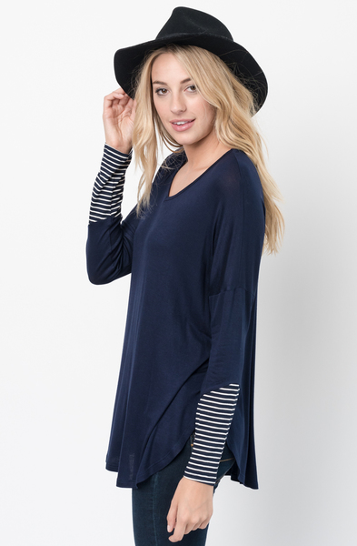 Buy Now Navy V-Neck Striped Panel Sleeve Tunic Online - $34 -@caralase.com