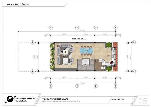 Thiết kế shophouse - nhà phố thương mại Sunshine Wonder Villas khu đô thị Ciputra Tây Hồ
