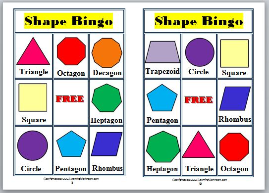 Grades K-8: 2-D Shapes Bingo For Kids