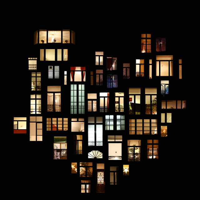 Windows at night collage