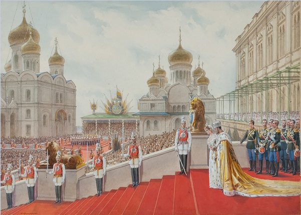 Adolf Iosifovich Charlemagne (1826-1901) - Episode of the coronation of Emperor Nicholas II - 1896 | State Historical Museum collection | watercolors, artworks, art pictures | iconoCero