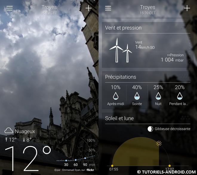 Yahoo météo pour Android