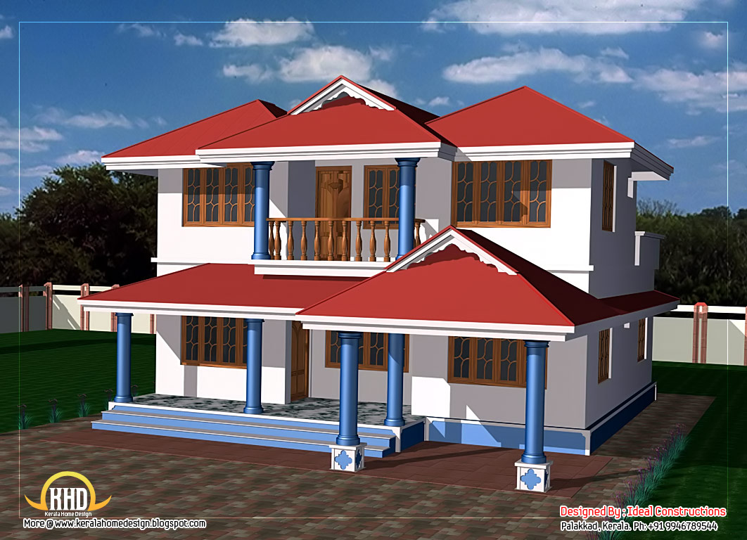Two story house plan 1800 sq ft kerala home design for Two storey house design with floor plan with elevation