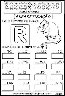 Atividades de alfabetização letra R