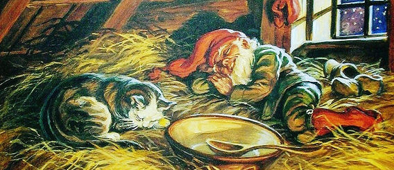 The Barn Elf or Fjøsnissen rests in the barn after a full bowl of porridge. Photo: WikiMedia.org.
