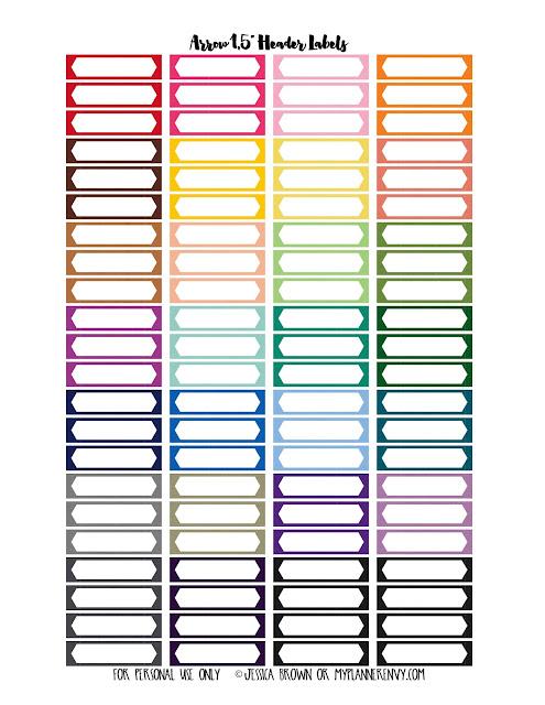 Arrow Header Labels for the Happy Planner and Erin Condren Life Planner on myplannerenvy.com