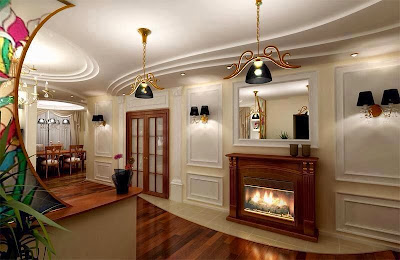 Attractive wall decoration with warm lighting system