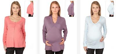Tops para embarazadas en color rosa, malva o azul claro