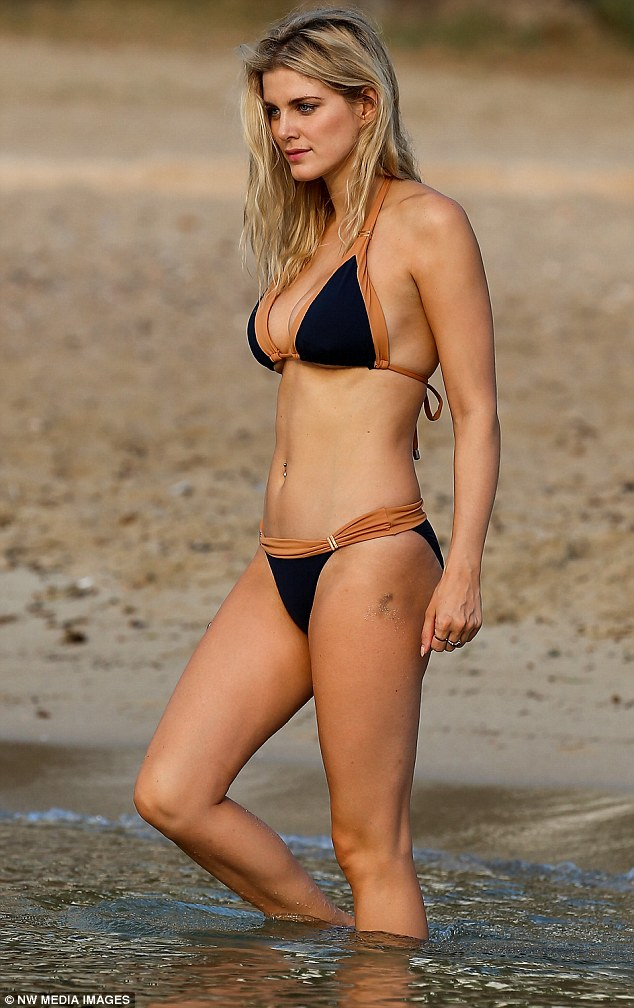 Ashley James flaunts bikini body on a beach in Ibiza