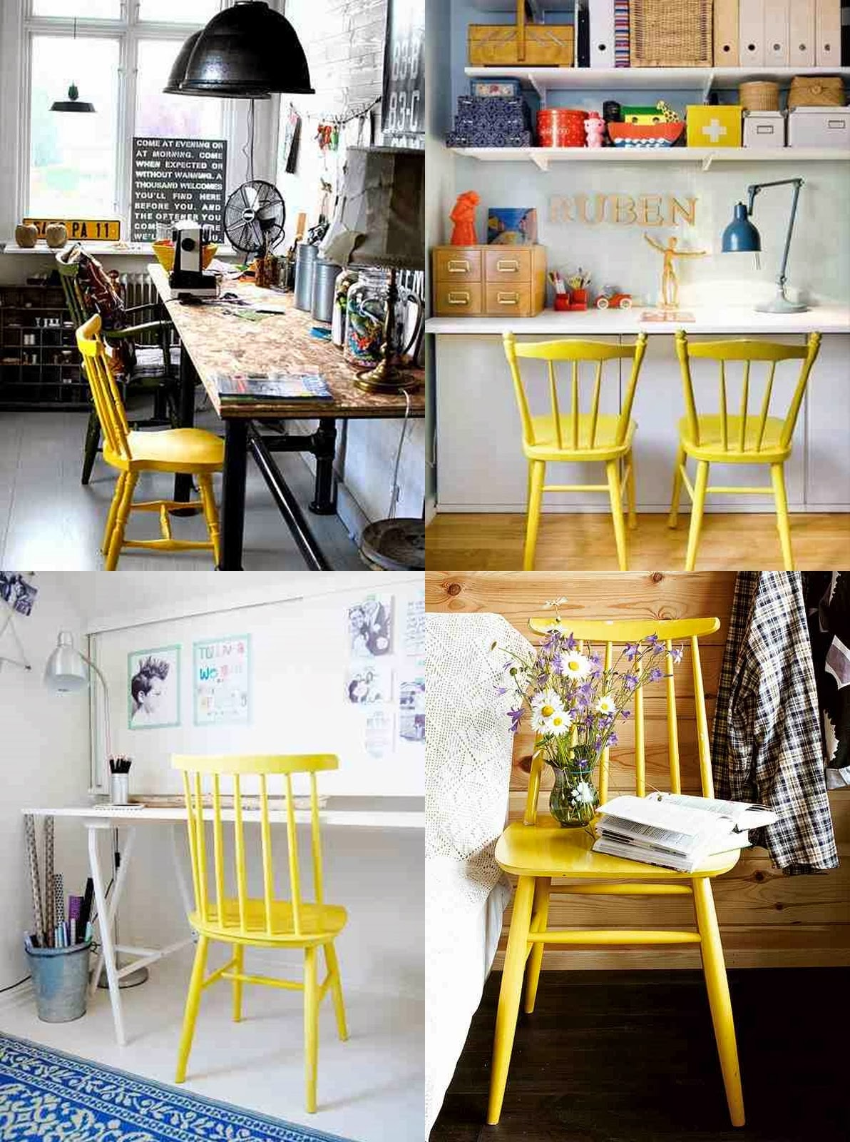 Workspace design and yellow chairs