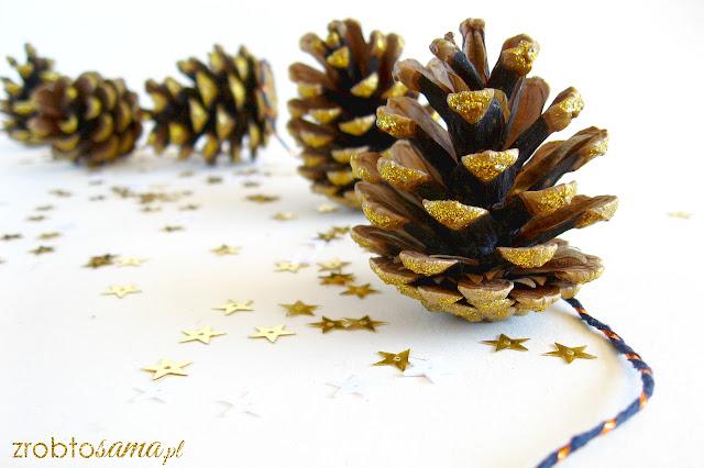 Złota girlanda z szyszek - świąteczne ozdoby DIY - zrób to sama